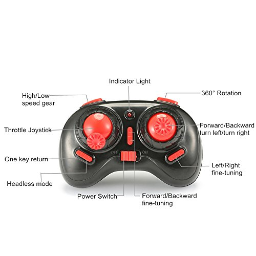 EACHINE E010 Mini UFO Quadcopter Drone 2.4G 4CH 6 Axis Headless Mode Remote Control Nano Quadcopter RTF Mode 2 (Red)