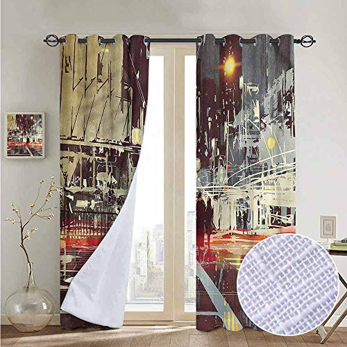 fengruiyanjing Window Curtain Panels Windows Treatment for Living Room Bedroom, Modern, Gloomy City Streets 108