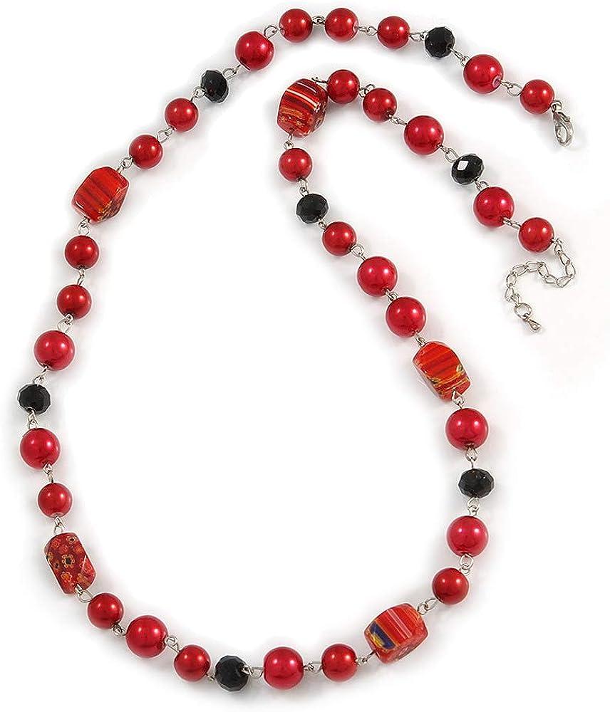 Avalaya Collar con cuentas de cristal negro y cerámica floral estilo perla roja, 72 cm de largo y 4 cm de extensión