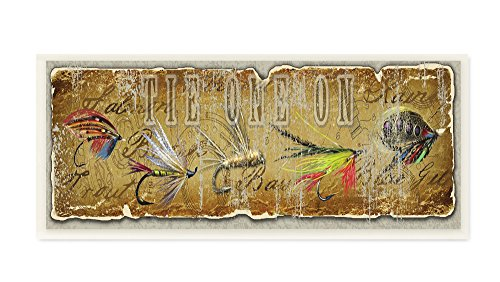 Stupell Home Décor Tie One On Fly Fishing Wall Plaque Art, 7 x 0.5 x 17, Proudly Made in USA