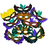 50 (Fifty) Pack of Mardi Gras Masquerade Party Feather Fantasy Masks(Assorted Colors)