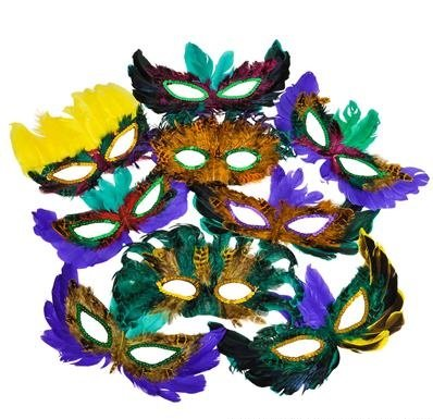 50 (Fifty) Pack of Mardi Gras Masquerade Party Feather Fantasy Masks(Assorted (Mardi Mask)