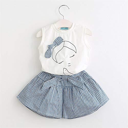 Summer Children 2019 Cute Flower Flower Children's Clothing Set 2 Pieces 7T White ()