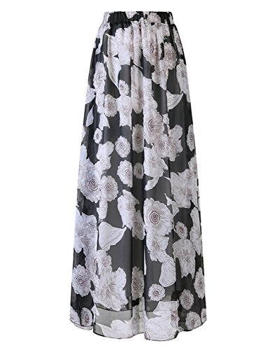 Black Polka Flower (DRESSTELLS Women's Long Floral Print Maxi Chiffon Polka Dots Long Vintage Skirts Black Flower 2XL)