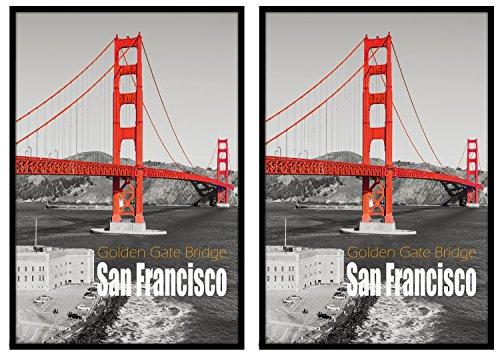 Frametory Pack of 2, 24x36 Black Poster Frame, Swivel Tabs,