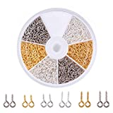 Pandahall Elite About 700 Pcs Iron Screw Eye Pin Bail Peg for Half-drilled Beads 8mm/10mm for Jewelry Making 3 Colors