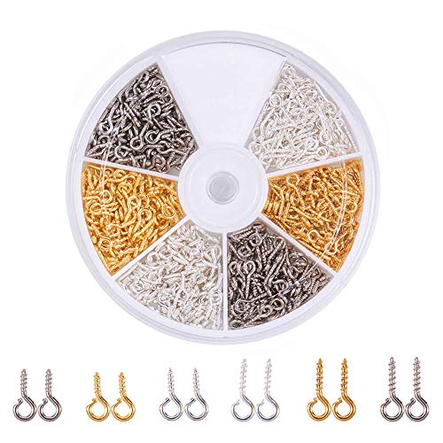 Pandahall Elite About 700 Pcs Iron Screw Eye Pin Bail Peg for Half-drilled Beads 8mm/10mm for Jewelry Making 3 Colors ()