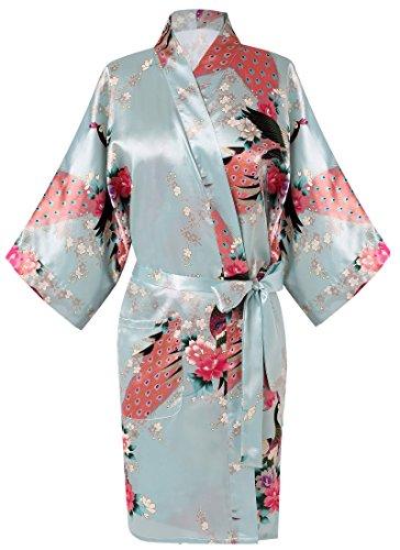 Avidlove Women's Kimono Robe Peacock Design Short Sleepwear (Light Blue1)