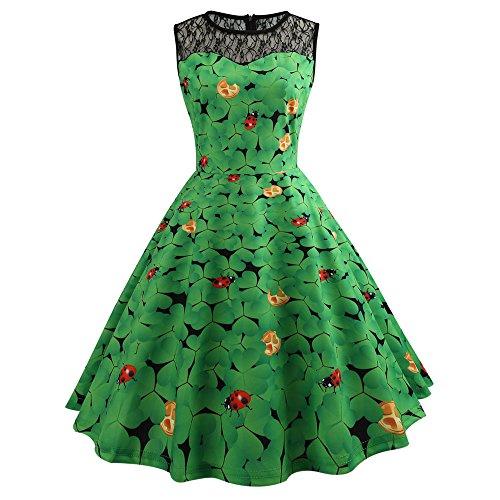 (St. Patrick's Day Women's Dresses,DaySeventh Women Bodycon Evening Print Party Prom Swing Dress)