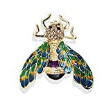 Mimgo Bee Brooch Insect Enamel Rhinestone Pin Exquisite Clothes Dress Scarf Decoration Animal Fashion Bouquet Badge Jewelry Gift