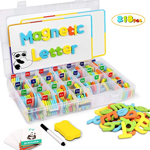 Lydaz Magnetic Letters Classroom ABC Toys Set for Fridge, 218 PCS Alphabet ABC Learning Magnets Letters with 2 White Boards - Preschool Educational Foam Spelling Toy Magnet for Toddlers