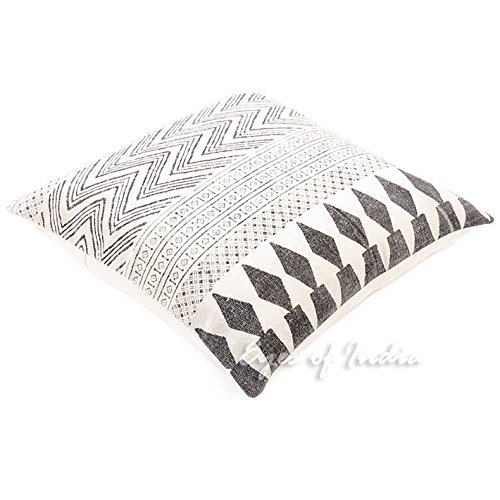 Eyes of India - 28'' White & Black Dhurrie Printed Cushion Sofa Couch Pillow Cover Colorful Throw Indian Bohemian BohoCover Only