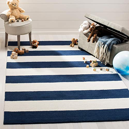 Classic Tall Wool Stripe - Safavieh Kids Collection SFK919N Handmade Classic Stripe Wool Area Rug (5' x 7')