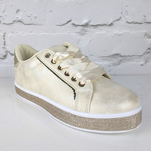 Pinkpoca Sneakers Trainers Glitter Cream Womens up Sparkly Lace Gold Ribbon Glitter gxwfPqBg76