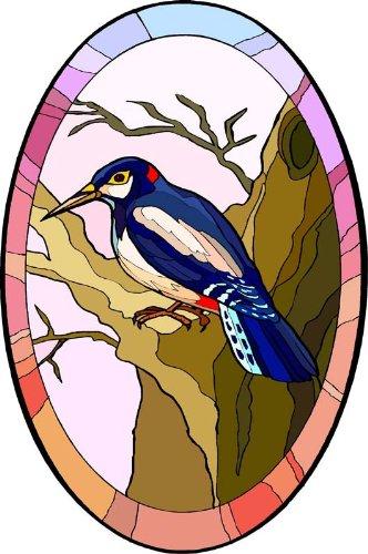 Amazoncom Woodpecker Bird In Tree Etched Vinyl Stained Glass - Bird window stickers amazon