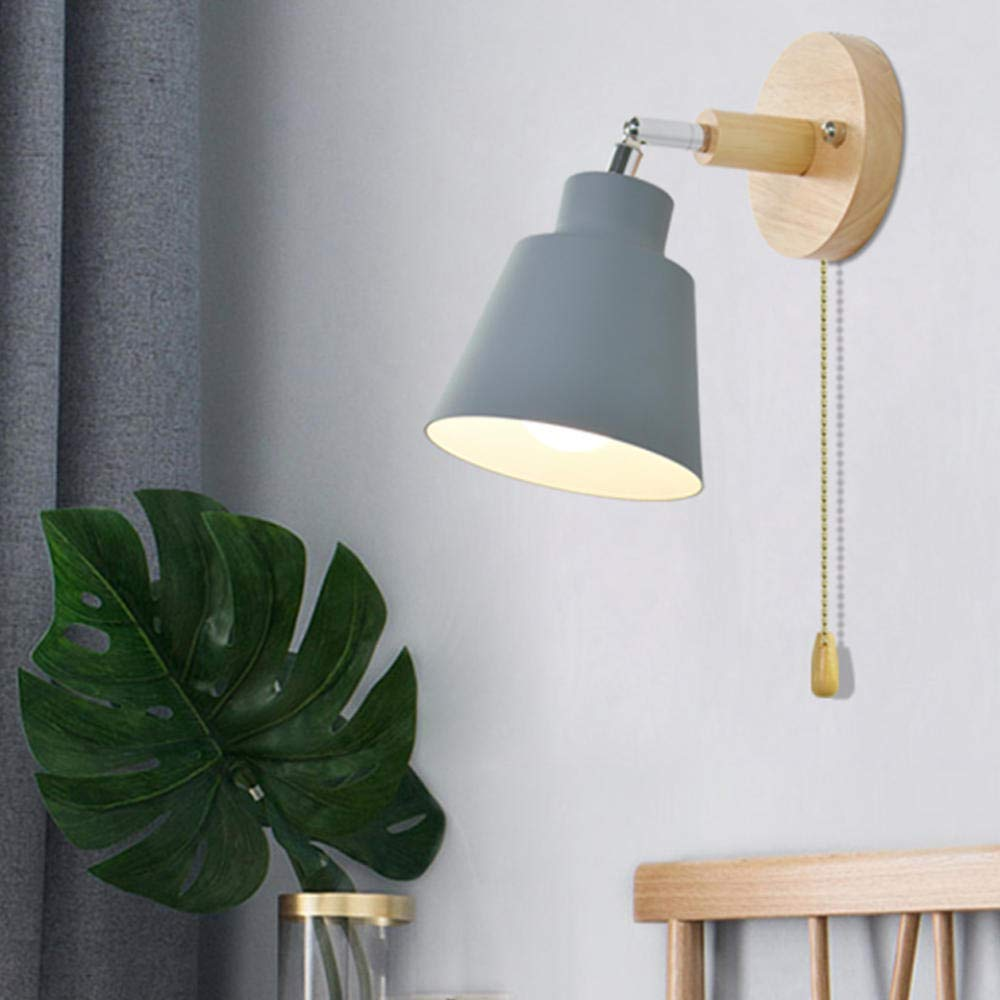 GYBYB L/ámpara de pared de madera n/órdica l/ámpara de pared de noche E27 aplique luz de pared para pasillo de dormitorio 4 colores con interruptor de cremallera libremente giratorio @ gris