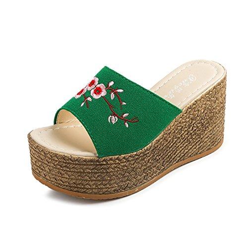 Chaussons Style Mode WHLShoes Glisser Divertissement D'Épaisseur Cool Summer Folklorique Femelle green femme Police Muffin Et D'Un Loisirs YEUUdqxw4