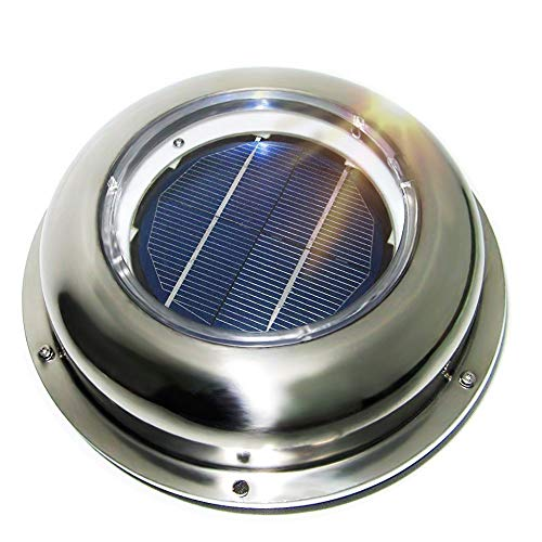 (ECO LLC Solar Powered Roof Mounting Ventilator Stainless Steel Attic Fan For Home, RV, Boats)