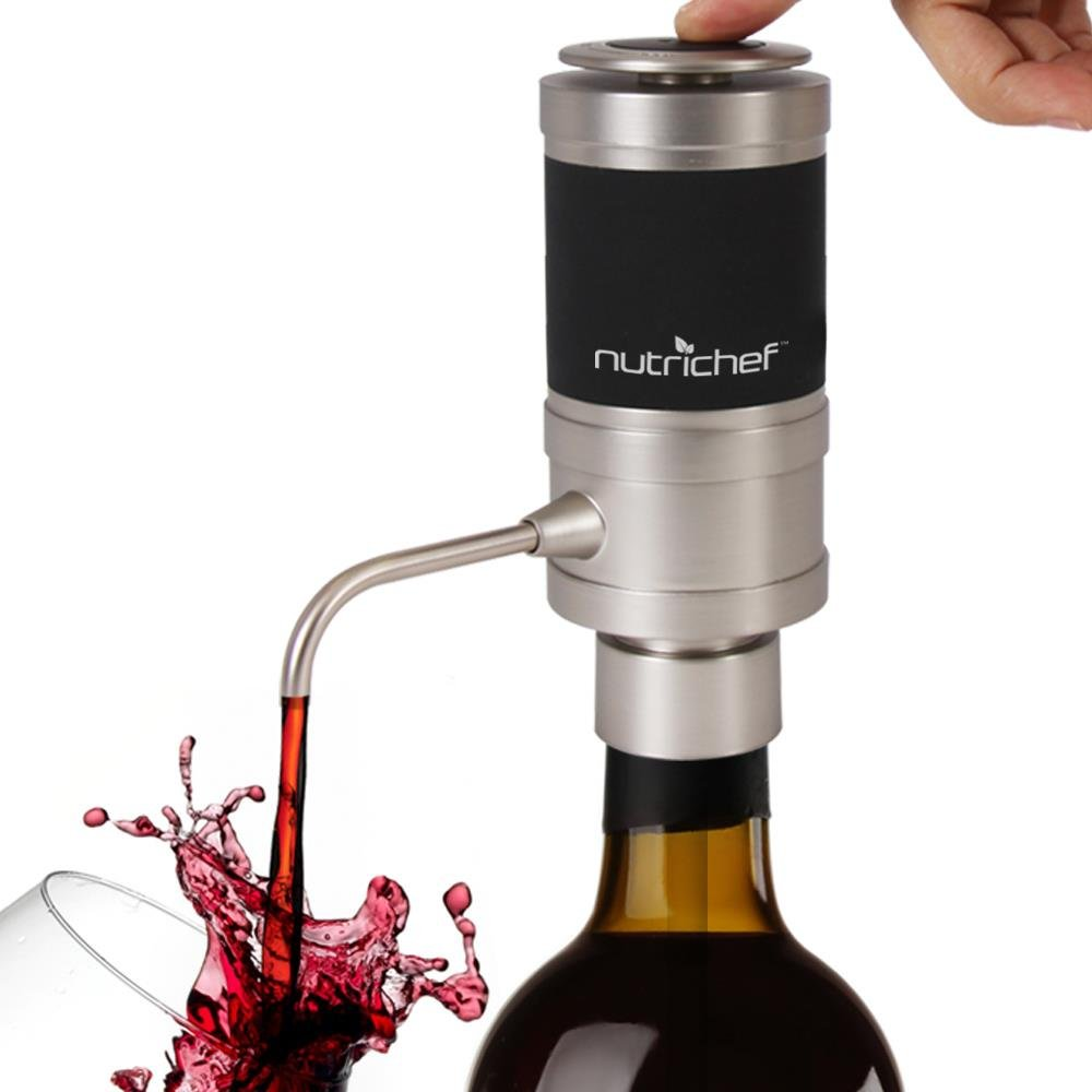 NutriChef Stainless Electric Wine Aerator - Portable and Automatic Bottle Breather Tap Machine Dispenser Pump - Unique Air Decanter Diffuser System for Red and White Wine - PSLWPMP100