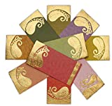 DEVIKA Premium Shagun Gift Envelope for Cash (Pack of 50) 7' x 3.5' Golden Leaf Design Gold Silver Foil Stamping Assorted Color Money Holder Card for Christmas Diwali Birthday Wedding Graduation
