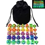 Double Color Glow in The Dark Dice Set 35 Pieces Polyhedral Dice for RPG DND MTG Games Include Black Velvet Pouch