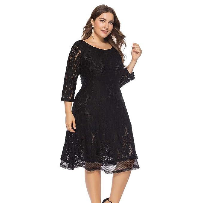 82b5cfc5a9a12 Ladies Dresses, Half Sleeves Solid Oversize Vintage Floral Lace Plus ...