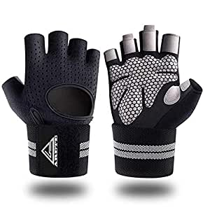 Gym Weight Lifting Fitness Gloves, Breathable Workout Gloves with Built-in Wrist Wraps, for Cross, Fitness, Bodybuilding, Sports, Power Training (M)