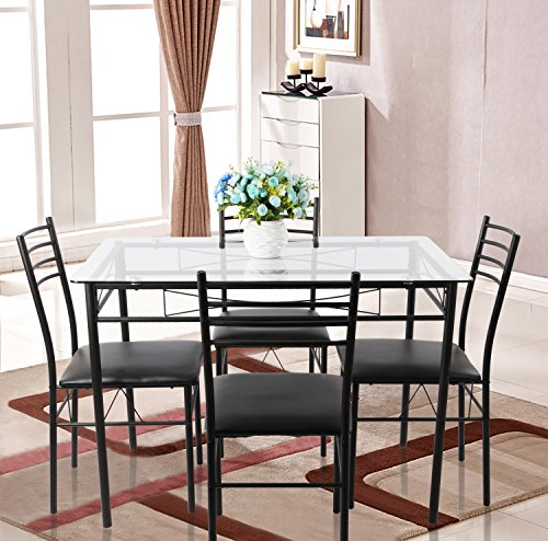 VECELO Glass Dining Table Set for