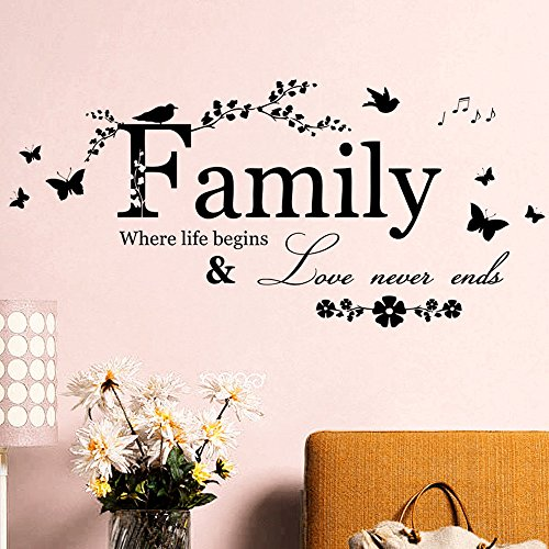 Chenway Family Letter with Butterfly Wall Sticker Quote Removable Vinyl Decal Art Mural Home Decor Wall Stickers Living Room TV Bedroom Wall Background 65x30cm ()