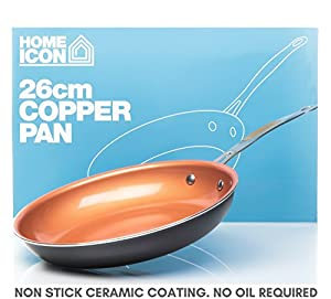 Home Icon Copper Pan 26CM (10-Inch) Ceramic Coated Non-Stick Frying Pan Induction Compatible