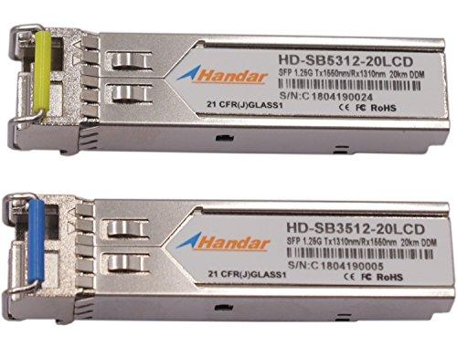 [1 Pair] Handar for Cisco 1.25G BiDi SFP Transceiver Tx1310nm/Rx 1550nm and Tx1550nm/Rx1310nm DFP PIN Single Mode LC Connector 20km by Handar (Image #1)