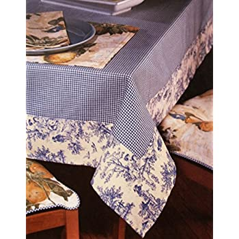 Captivating Waverly Oblong Tablecloth Gingham Blue Toile Fabric