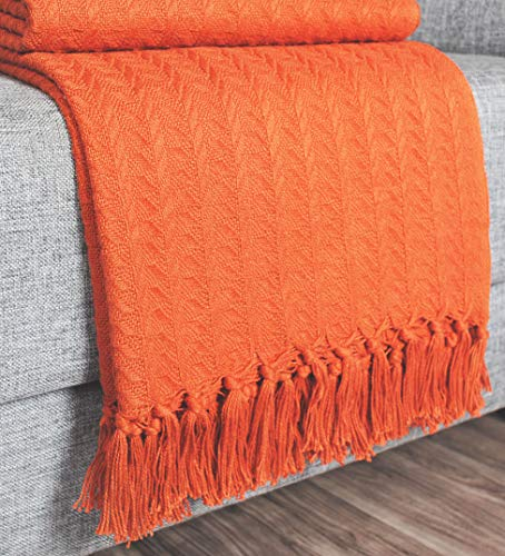 Urban Style Décor Ringspun Woven Cotton Throw Cozy Breathable Thermal Cotton Throw Blanket Bed Spread Quilt for Bed & Couch/Sofa (Rusty Orange) ()