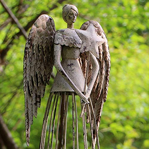 "Antiqued Metal Garden Angel Statue with Star Wand, Indoor Outdoor Angel Yard Art Decor Lawn Patio Decorations Holiday Decor Garden Present Idea, 26""H (Star Wand)"