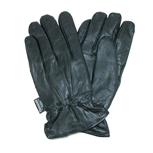 Dorfman Pacific Mens Leather Thinsulate Lined Water Repellent Winter Gloves Black Large / (Black Lambskin Leather Gloves)