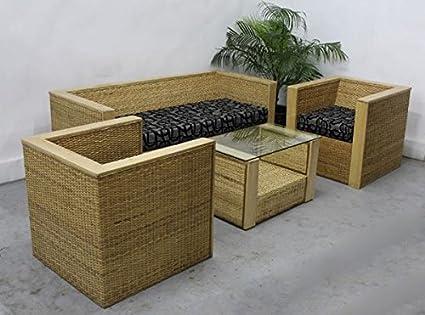 Amour Cane Box Sofa Set 3 1 1(Brown U0026 Blue)