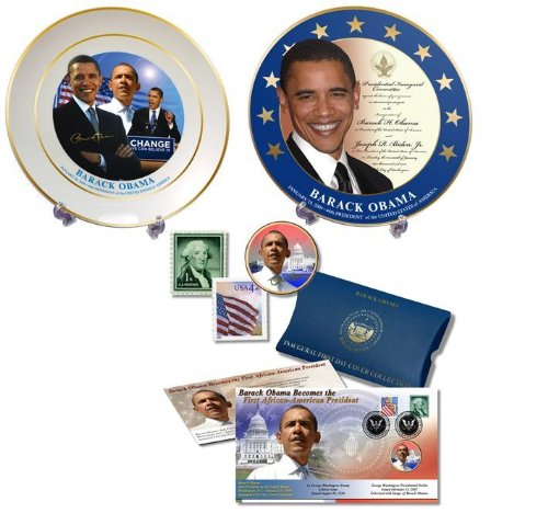 (President Barack Obama Inaugural Plates and First Day Cover Coin Collection)