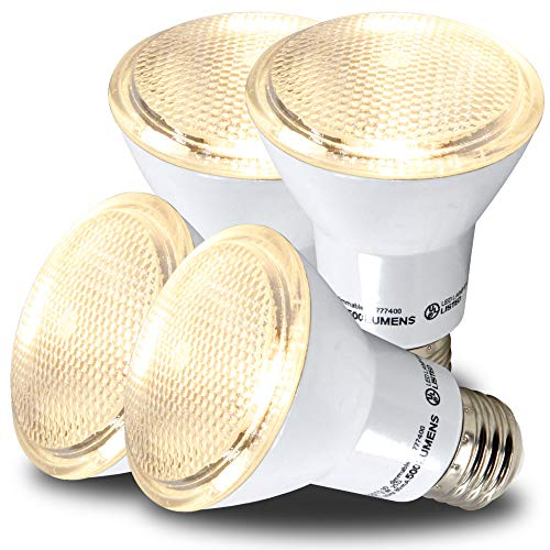 (AmeriLuck PAR20 LED Light Bulbs, Dimmable Spot Light 40˚ Beam Angle, 500+ Lumens, 7W, 50W Equivalent, CRI 80+, UL Listed, Glass Filter, Wet Rated (3000K|Warm White, PAR20 4 Pack))