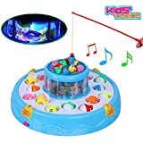Kids Choice Fishing Fish Catching Game with 26 Pcs Of Fish, 2 Rotary Fishing Pond & 4 Pods Includes Music and Lights Function (Assorted Color)