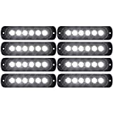 DIBMS 8x White 6 LED Side Strobe Warning Hazard Flashing Emergency Caution Construction Light Bar for Car Off road vehicle ATVs truck engineering vehicles