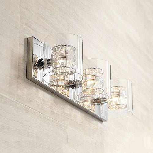 "Modern Wall Light Chrome Wrapped Wire 22"" Wide Vanity Fixture Bathroom Over Mirror - Possini Euro Design"
