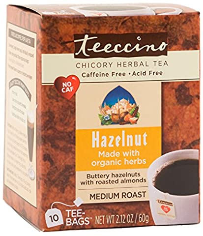 Teeccino Hazelnut Chicory Herbal Tea Bags, Caffeine Free, Acid Free, 10 Count - Caffeine Free Coffee