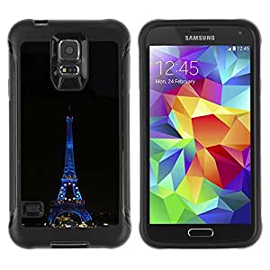 Pulsar Defender Series Tpu silicona Carcasa Funda Case para SAMSUNG Galaxy S5 V / i9600 / SM-G900F / SM-G900M / SM-G900A / SM-G900T / SM-G900W8 , Architecture Eiffel Tower Tour Night