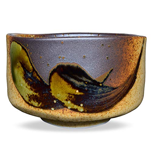 Japanese Handcrafted Matcha Tea Bowl Brown, Matcha Tea Cup Ceremony, Authentic Mino Ware Pottery, Shigaraki Oribe Chawan