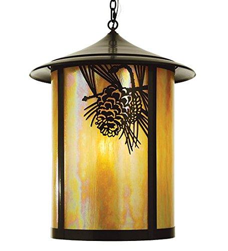 Meyda Tiffany Custom Lighting 67962 Fulton Winter Pine 4-Light Exterior Pendant, Craftsman Brown Finish with Iridescent Beige Art Glass