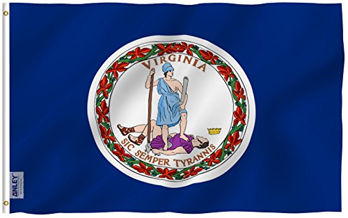 Anley Fly Breeze 3x5 Foot Virginia State Polyester Flag - Vivid Color and UV Fade Resistant - Canvas Header and Double Stitched - Virginia VA State Flags with Brass Grommets 3 X 5 Ft