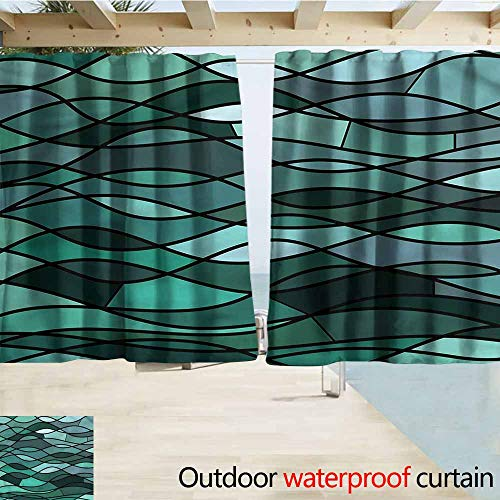 (MaryMunger Indoor/Outdoor Top Curtain Teal Mosaic Sea Waves Inspired Rod Pocket Curtain Panels W63x63L)