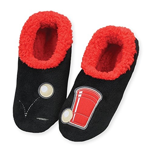 snoozies-mens-mancave-splitz-non-skid-slipper-socks-beer-pong-large