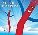 EasyGoProducts 20 Foot Fly Guy - Inflatable Dancer Tube Man - Sky Puppet Dancing Balloon. Fits all 18 inch fans. Red Body Blu