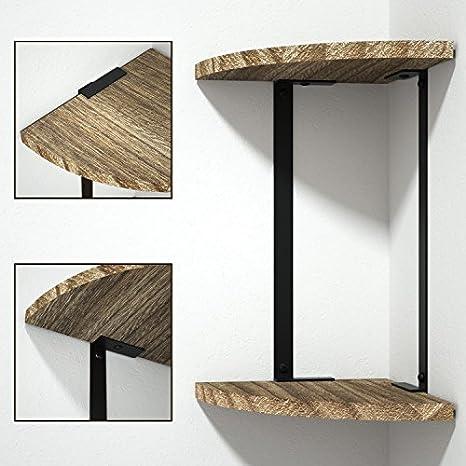 roolee Estante de esquina de 2 estantes flotantes de pared, estantes de almacenamiento de madera rústica para dormitorio, sala de estar, cocina, ...